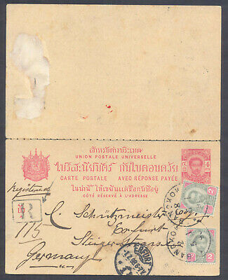1898 Siam Thailand Uprated (4+2+2 Atts) Registered Postal Stationery To Germany