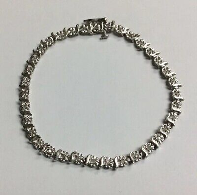 Ladies White Gold Diamond Tennis Bracelet .20CTTW
