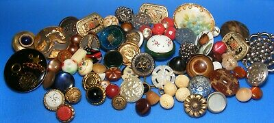 Lot of Mixed Antique and Vintage Buttons,Enamel,Carved pearl,Brass,Steel,VI,Bone