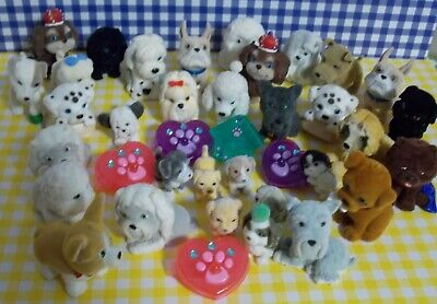 Big Lot Of Puppy In My Pocket Puppies Ring Barrettes Tiny Pups