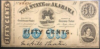1863 State of Alabama 50 Fifty Cents Civil War Currency Confederate Note