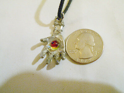 bling pewter bone skull crystal hand celt pendant charm leather hip hop necklace