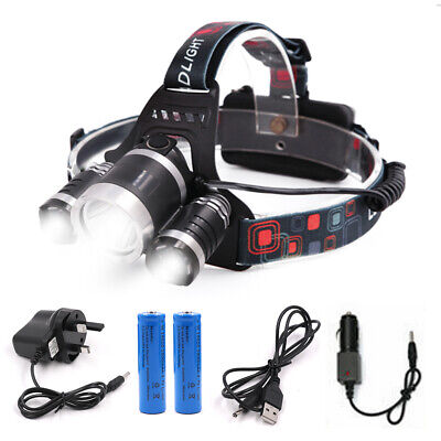 12000LM 3X XML CREE T6 LED Head Torch Rechargeable Battery Headlamp Lamp Light
