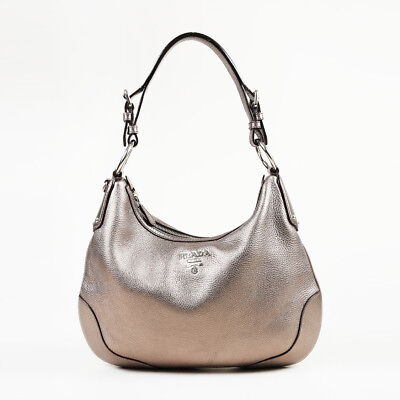 3e39a2000ca8a5 PRADA METALLIC SILVER Vitello Daino Leather Hobo Bag - $465.00 ...