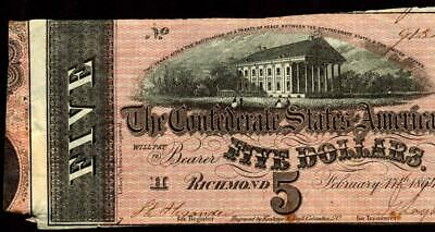 ** ERROR ** T69 $5 1864  Confederate States of America ** MORE CURRENCY FOR SALE