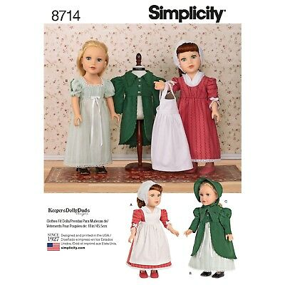 """S8714 Simplicity 8714 Sewing Pattern Doll 18""""/ 45cm Historic Victorian Clothes-"""