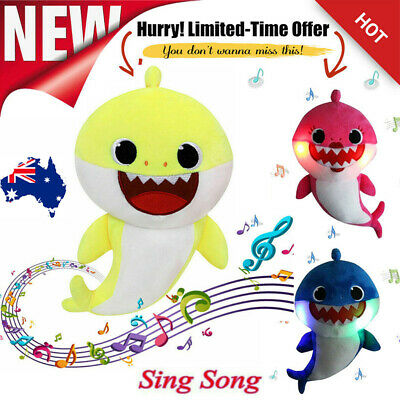 2019 Baby Shark Plush Singing Plush Toys LED Music Doll English Song Toy Gift AU