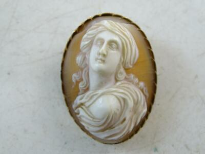 Antique Victorian High Relief Carved Shell Cameo Pin Brooch Biblical 1800s Vtg