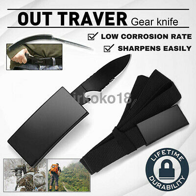 Outdoor Nylon-Belt Fixed Blade knife Tactical Camping Survival Urgency Saber New