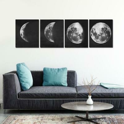 4pcs Frameless Abstract Moon Print Moon Phases Canvas Paintings Wall Home Decor