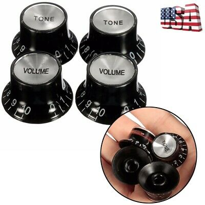 4Pcs Black Volume Tone Top Guitar Speed Bell Knob Control For Gibson Les Paul SG