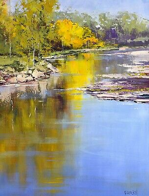 river painting, stream painting, landscape painting original Autumn oil painting