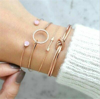 4Pcs/Set Womens Gold Arrow Knot Crystal Round Opening Bangle Chain Bracelet 2019
