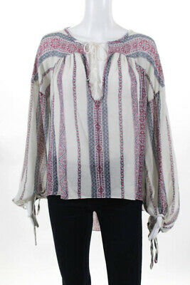 b0cd80d6c4e177 Derek Lam 10 Crosby Womens Red Blue Cotton Striped Asymmetrical Blouse Size  Smal