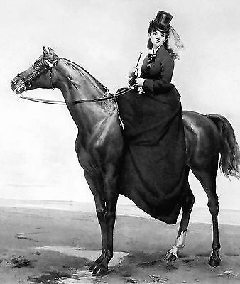 Equestrian Print c19th Victorian Lady Side Saddle Mount Riding Habit Hat    Dress a2779e21bd4