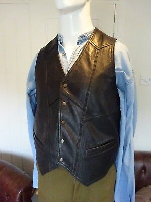 """Vintage Leather Mens Waistcoat  Country & Western - Biker -Size Medium 38"""" Chest"""