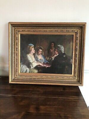 Antique 19th C Rare Painting Oil On Board Signed By Alexander Johnston 1815-1891