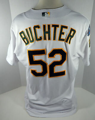 8593634610c 2018 Oakland Athletics A s Ryan Buchter  52 Game Issued White Playoff Jersey