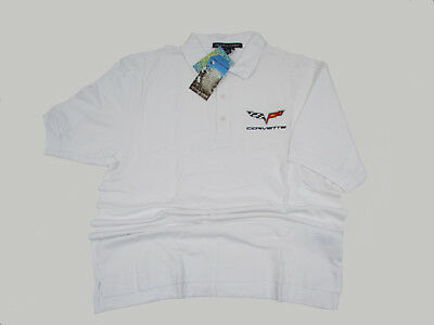 XL White Polo Shirt C6 2005-2013 Corvette Emblem