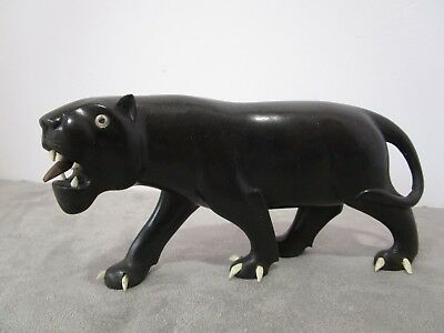 Chinese Carved Hard wood  Asian Black Puma Cat vintage figurine