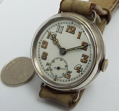 Beautiful Working Antique 1915 Screw Back Solid Silver Ww1 Trench Military Watch