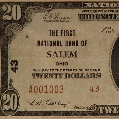 1929 - The First Natl Bank Of Salem, OH - $20 Natl Currency - T2 - #43   - #688Z