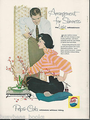 1957 PEPSI advertisement, flower arraigning young lady