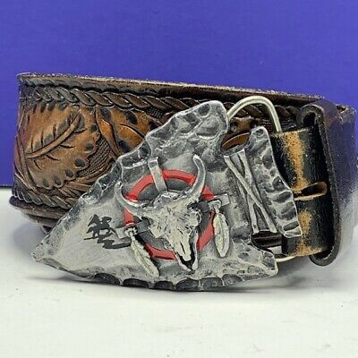 Western belt buckle vintage pewter arrowhead cow skull siskiyou 1980 native usa