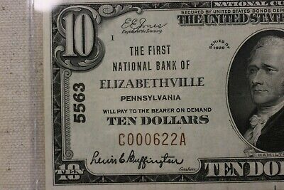 $10 1929 The First National Bank of Elizabethville, PA