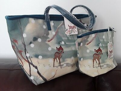 New! Cath Kidston Bambi X Velvet Trim Tote & Matching Cosmetic Case Bnwts