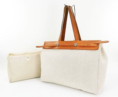 Authentic HERMES Her Bag Cabas GM 2 in 1 Beige Canvas Tote Bag Purse #31316