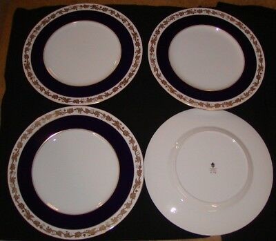 4 Wedgwood Bone China England Dinner Plates Cobalt Whitehall Mazarine W 4200