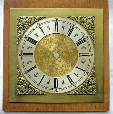 Good Vintage Hermle Longcase Brass Clock Face - 20Cm Square on 22.5Cm Board