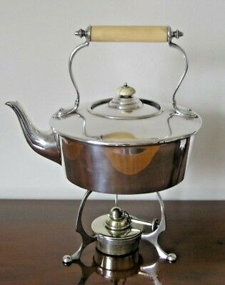Lovely Antique Silver Plated Spirit Kettle, Stand And Burner - Hutton & Son