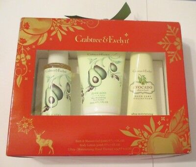 Crabtree & Evelyn Avocado Gift Set -  Shower Gel, Body Lotion, Hand Therapy  Nib