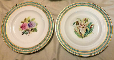 """Pair of Antique French Floral Wall Plates w/Hangers - ~9 1/8"""""""