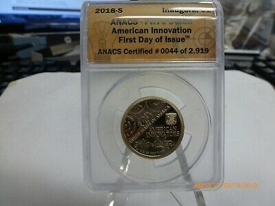 2018-S American Innovation Dollar Anacs Pr 70 Dcam First Day Of Issue!!