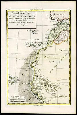 1780 Antique Map WEST AFRICA from Spain SIERRA LEONE CAPE VERDE by Bonne
