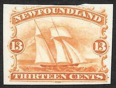 NEWFOUNDLAND 1865 13c proof in orange on thick card, unused. SG 29.