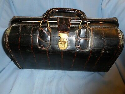 RARE OLD Alligator Dr's Bag FULL UNUSED Medical Tools Louisville General Hospita