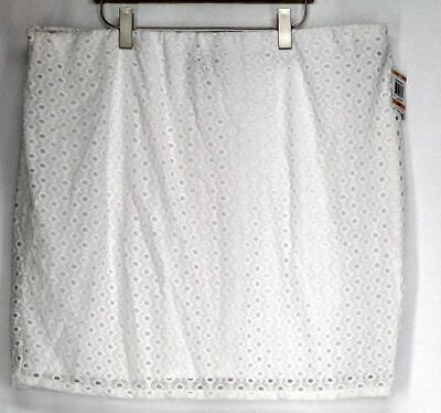 33a69659b95 Alfani Plus Size Skirt 24W Eyelet Mesh Overlay Pencil Skirt Bright White