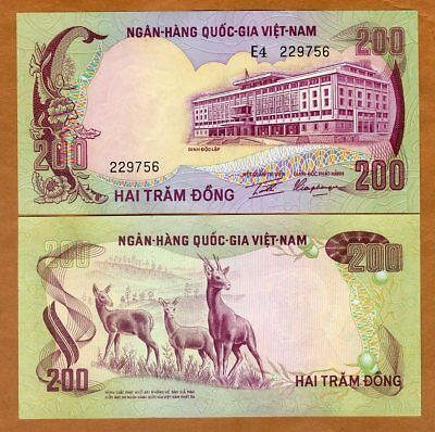 Vietnam South, 200 dong, ND (1972)  P-32, UNC > Antelopes