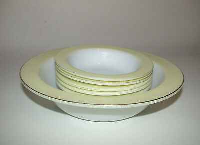 Pyrex Serving Bowl & 5 Fruit Bowls / Dishes    White With Yellow Edge