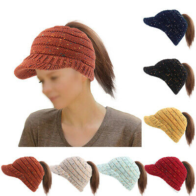Women Hat Ladies Knit Ponytail Beanie Hole Outdoor Headdress Stretch Warm Xmas