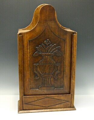 19th C Walnut Sliding Cover Spice Box Wall Mount Relief Carved Vase/Flowers