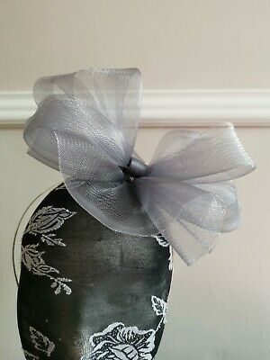grey fascinator millinery burlesque headband wedding hat hair piece race ascot