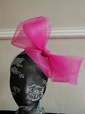 cerise hot pink fascinator millinery burlesque headband wedding hat hair piece