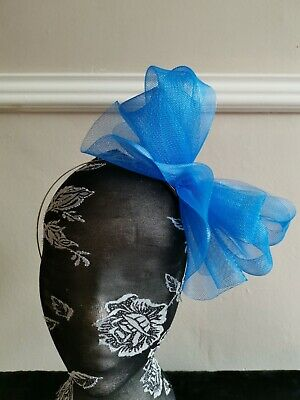 blue fascinator millinery burlesque headband wedding hat hair piece ascot race