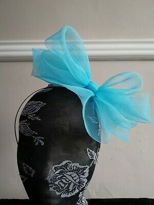 turquoise blue fascinator millinery burlesque headband wedding hat hair piece
