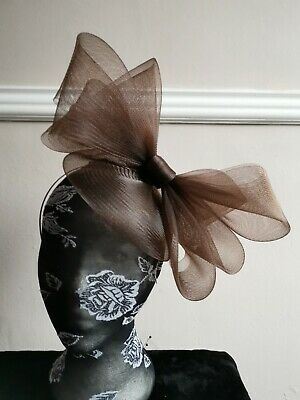 dark brown fascinator millinery burlesque headband wedding hat hair piece